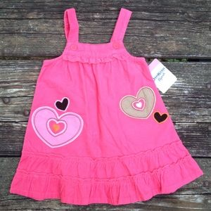 NEW Oshkosh Girls Pink Hearts Corduroy Dress 18M